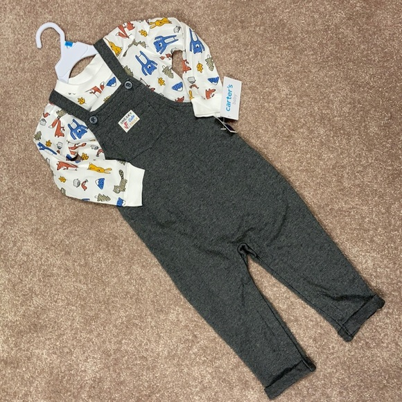 NWT 24m carters overalls and woodland animal tee